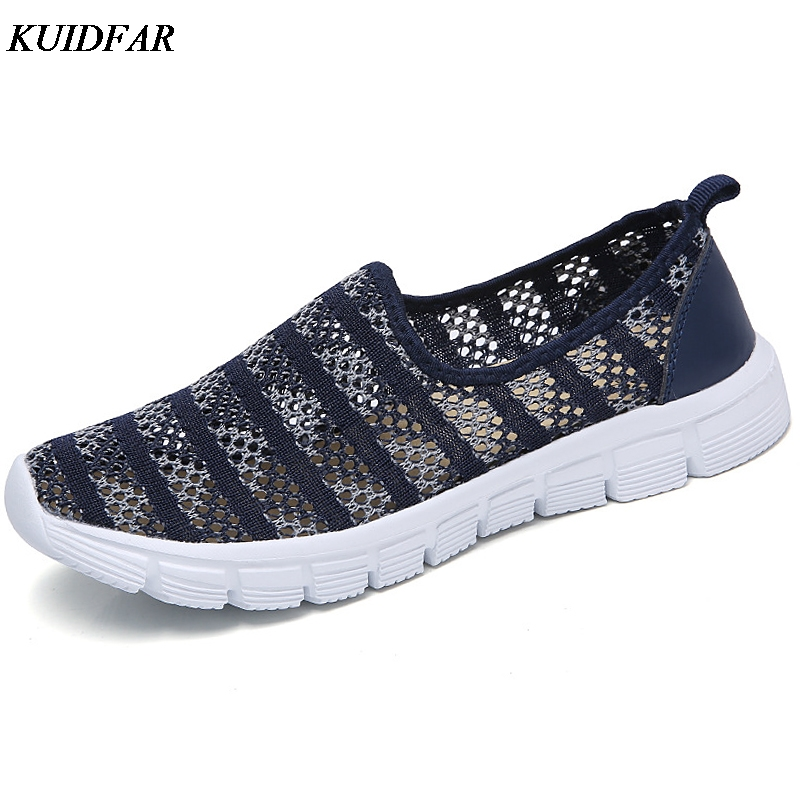KUIDFAR 2018 Summer Women Shoes Breathable Mesh Women Flats Shoes Female Casual Slip On Loafers Chaussure Femme forudesigns cartoon shark print women flats shoes sneakers casual women s summer mesh shoes beach girls loafers slip on zapatos