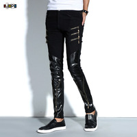 Fashion Men's Night Club DJ Pants Skinny Patchwork PU Leather Pants With Zippers Punk Style Black Trousers For Men