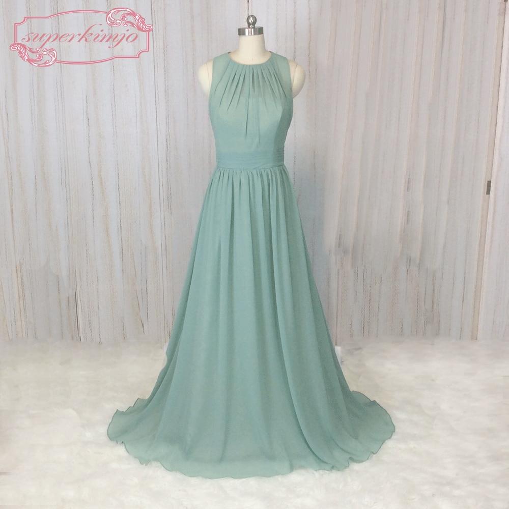 SuperKimJo Sage Green   Bridesmaid     Dresses   Long Vestido Madrinha Longo Chiffon Cheap Elegant Wedding Guest   Dresses   2018