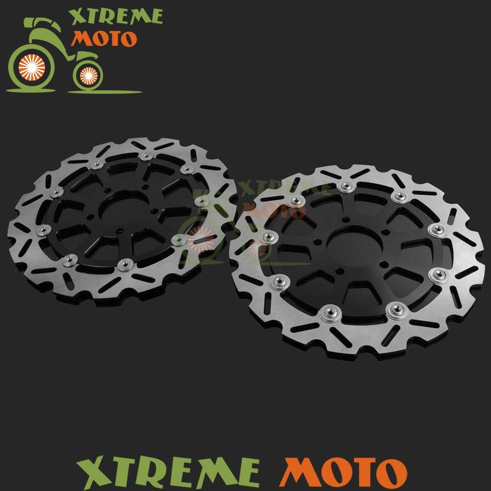 2 Pcs Motorcycle Front Floating Brake Disc Rotor For DL650 04-06 DL1000 02-10 SV1000 K3-K8 Naked SK3-SK7 Faired Model 03-07 rear brake disc rotor for yamaha fz1 non abs 06 09 fz6 naked non abs 04 07 fz6 ns naked 05 06 motorcycle