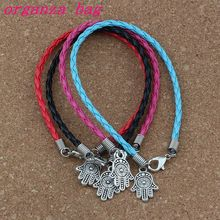 50pcs/lots leather bracelet Antique silver Hamsa Hand alloy Charms Pendants Bracelet 4 color B-377