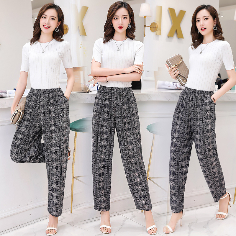 2019 New Summer Pants Women Vintage Elastic Waist Print Floral Elegant Trousers Female Casual Wide Leg Pants Plus Size XL-5XL
