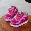 Niños Zapatos Casuales Hello Kitty Rhinestone Bebé zapatilla de deporte de los Muchachos de los Deportes botas Niños Luz LED Luminoso kids entrenadores tenis