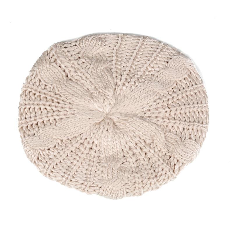 BFYL Beret tresse Crochet Chapeau Bonnet des Femmes Style Mode Tricotes Ivoire