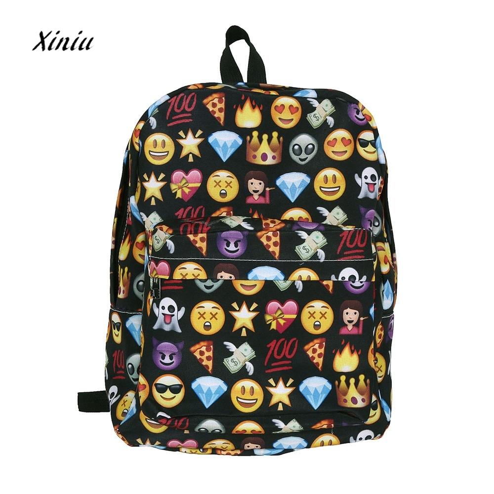 Unisex Backpack Modern Women Smile Emoji Backpack Emoticon Pack Shoulder Fashion Mochila Travel Laptop Casual School Bag
