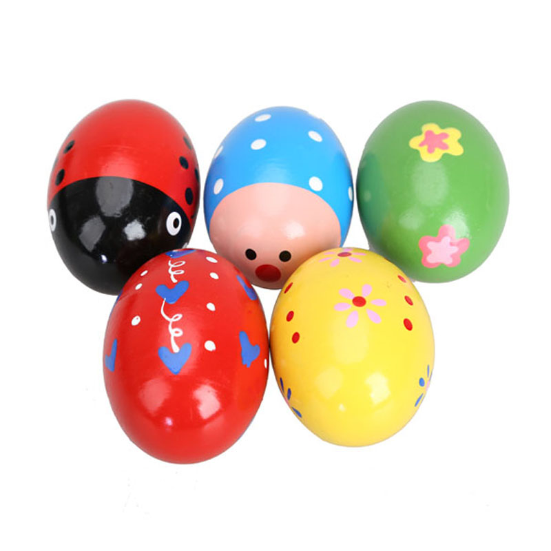 5PCS Toddler Baby Rattles Wooden Music Egg Shaker Colorful Cute Play Toy