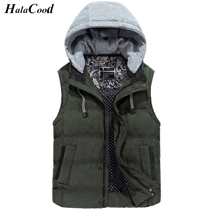 New Men's Jacket Sleeveless veste homme Winter Fashion Casual Coats Male Hooded Cotton-Padded Men's Vest Thickening Waistcoat olgitum 2017 women vest jackets new fashion thickening solid casual cotton fashion hooded outerwear