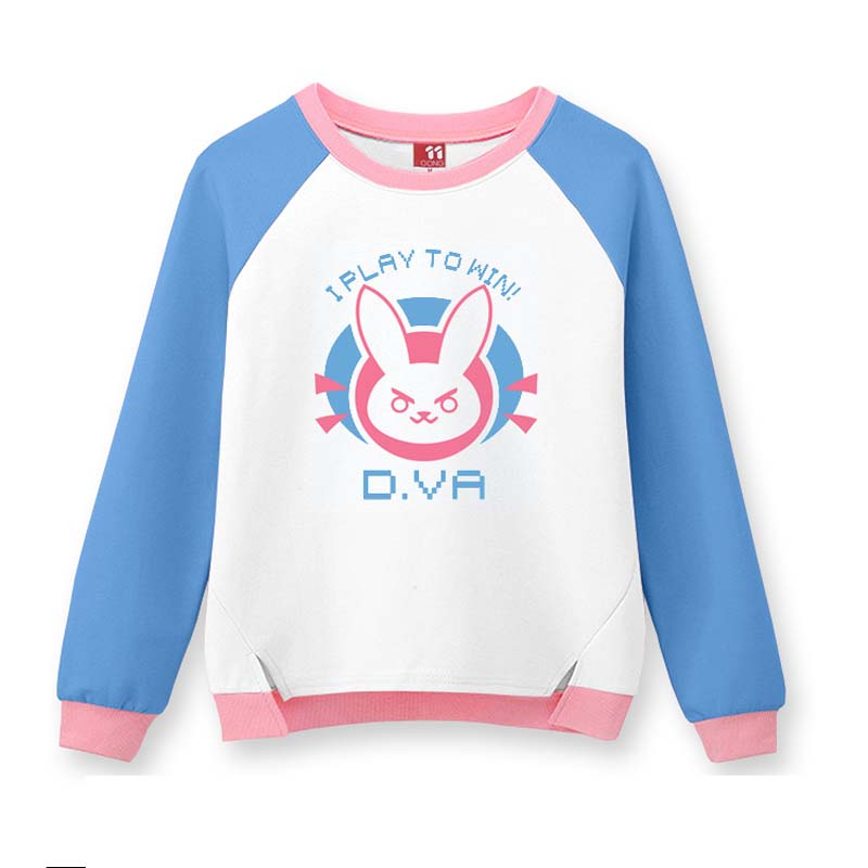 Video Game D.VA Cosplay T shirt Long Sleeve Sweatshirt Pullover Pink Blue Bunny Pattern Costume OW Game I Play To Win T shirt