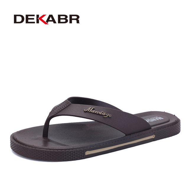 DEKABR Summer Men Flip Flops Male Slippers Men Casual Leather Shoes Summer Fashion Beach Sandals Zapatos Hombre Size 39~45