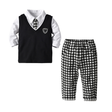 2019 Spring Toddler Boys Clothes Gentleman Outfit Kids Long Sleeve Plaid Tie Suits Childen clothing set 4pcs