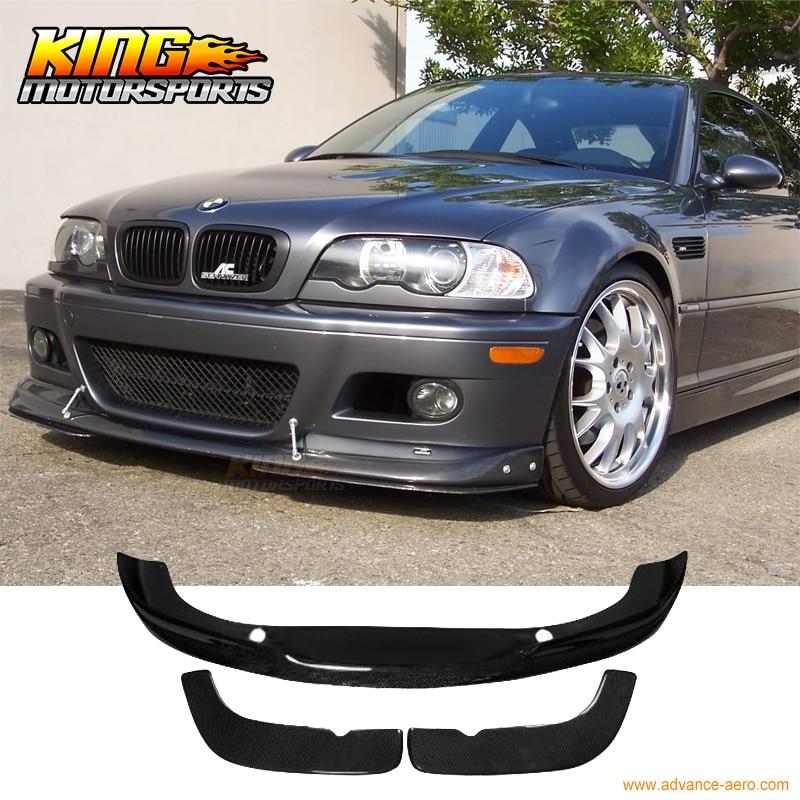 For 2001-2006 BMW E46 M3 Only 2Dr A Style Front Bumper Lip 3 Pcs - Carbon Fiber CF