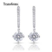 Transgems 14K 585 White Gold 2CTW Center 6.5mm 1ct FGH Color Clear Moissanite Drop Earrings with Accents for Women