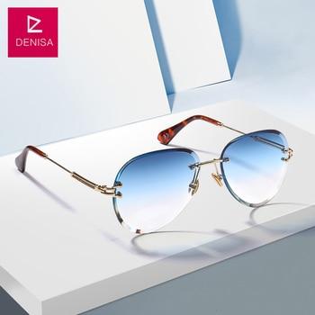 6ff219b45a DENISA de moda azul aviación roja gafas de sol de las mujeres hombres tonos  UV400 gafas de sol de montura gafas para Zonnebril mujeres G18475