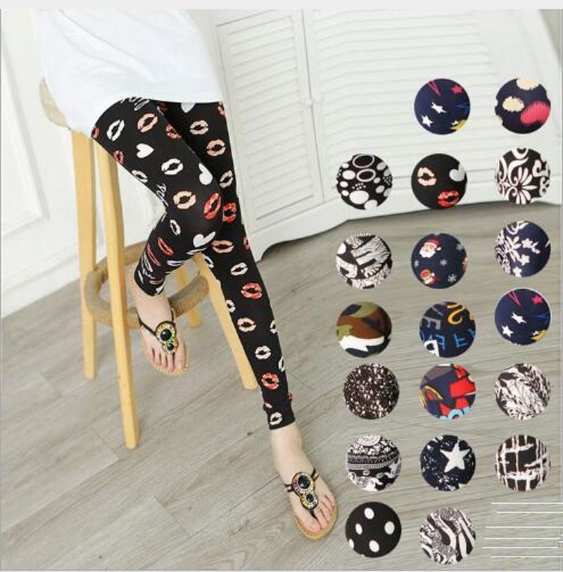 Leggings   Hot Sell Women's Skull&flower Black   Leggings   Digital Print Pants Trousers Stretch Pants LG01