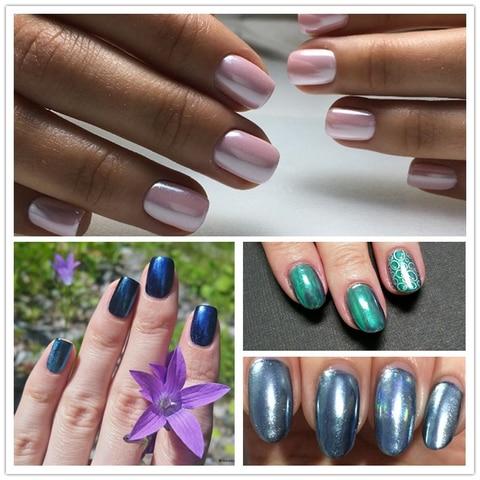3 Boxes Mirror Powder Set Nail Art Chrome Pigment Dust Shell DIY Glitter Manicure Blue Purple Decor Tips Lahore