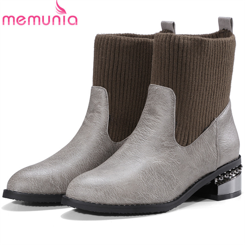 MEMUNIA Pointed toe med heels shoes woman ankle boots for women fashion shoes autumn boots autumn plus size 34-45 цены онлайн