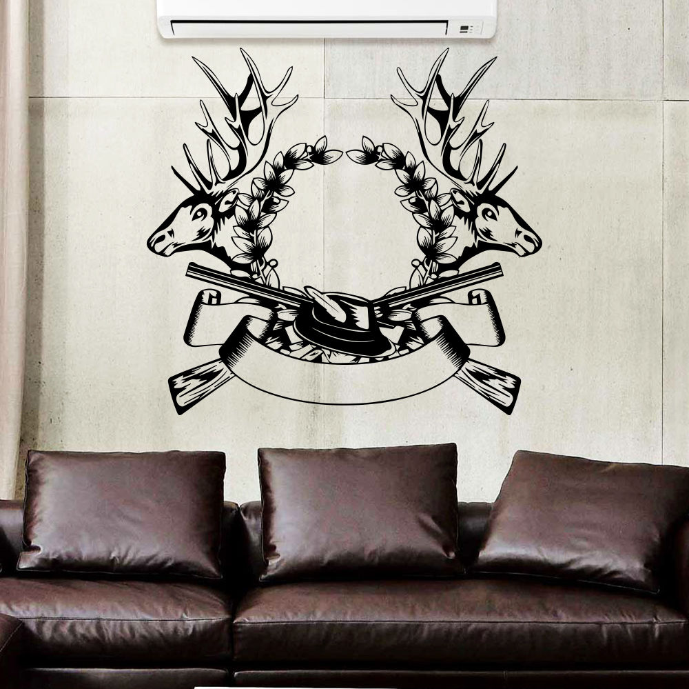 wall decal hunting deer rifle antlers decals bedroom decor sticker murals 22inchx24inchchina mainland. Interior Design Ideas. Home Design Ideas