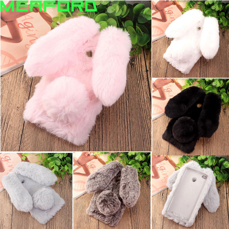 Plush Bunny Phone Cases For Coque Xiaomi Redmi 4X Case Cute Rabbit Hairy Ears Soft TPU Cover For Xiaomi Xiomi Redmi 4X 32gb Case