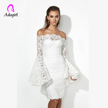 White Dress 2019 Sexy Cold Shoulder Design Bandage Dress Women Flare Sleeve Lace Elegant Red Bodycon Cocktail Party Women Dress elegant black and white design cap sleeve bodycon dress for women