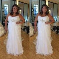 Robe De Mariee Elegant Plus Size Wedding Dress 2019 Sweetheart Chiffon A Line Wedding Gowns Handmade Bridal Dresses Shop Online
