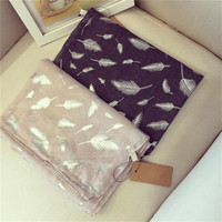 New Designer Plus Size Women Cotton Scarves Street Shawl Feather Printing Lady Scarf High Quality Luxurious