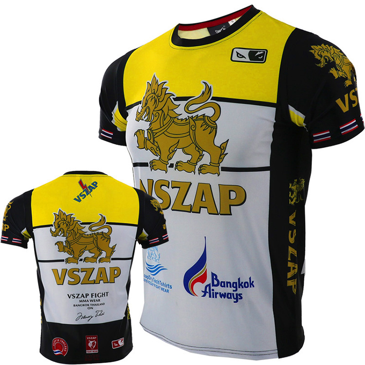 VSZAP Quick-drying Jersey MUAY THAI THAI Boxing Short Sleeve T-shirt For MMA Fitness Elastic Fighting Men
