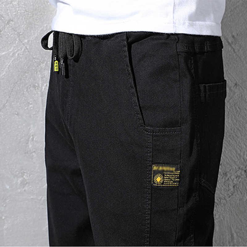 Gersri nowy luźny styl męskie dżinsy duży rozmiar 6XL 5XL S proste spodnie jeansowe Cargo jeansy dla motocyklistów mężczyźni Baggy luźne jeansy czarny