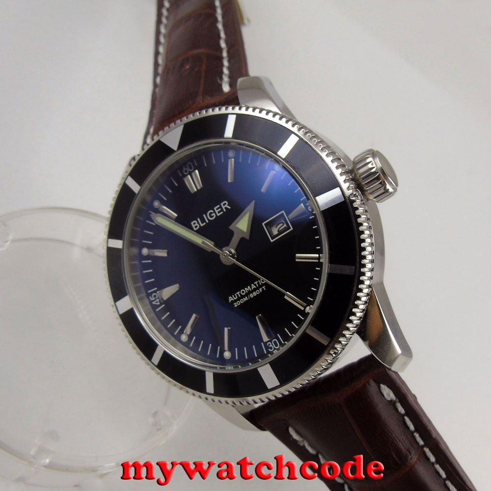 46mm bliger black dial date window luminous marks automatic mens watch B96C цена