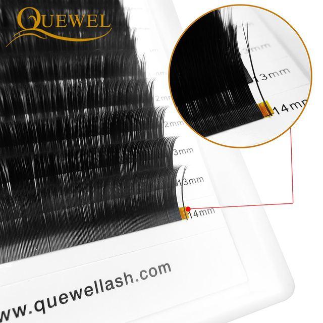 Quewel Flat Lashes Extension For Professionals Ellipse Flat Lash Split Tip profession Soft Silk Quewel Flat Eyelash C/D Curl 2
