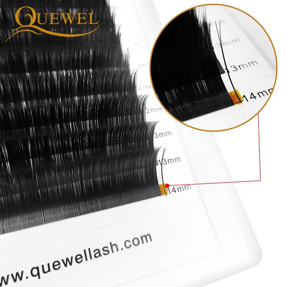Image 2 - Quewel Flat Lashes Extension For Professionals Ellipse Flat Lash Split Tip profession Soft Silk Quewel Flat Eyelash C/D Curl-in False Eyelashes from Beauty & Health