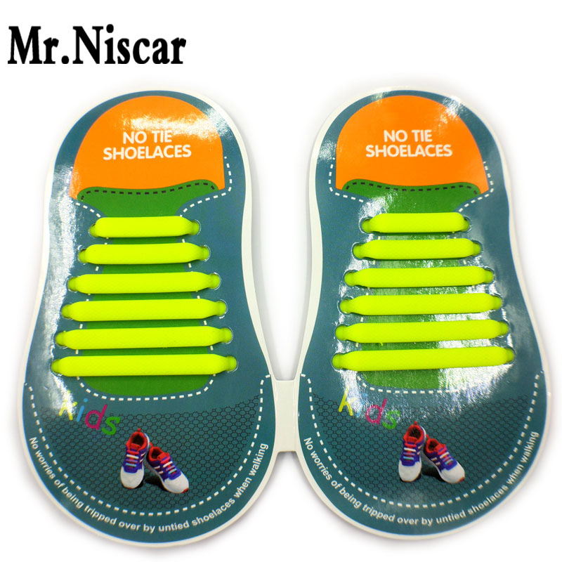 1 Set/12 Pcs Yellow Easy Lazy No Tie Shoelaces for Kids Running Shoes Casual Shoes Sneaker Lazy Elastic Silicone Flat Shoe Laces