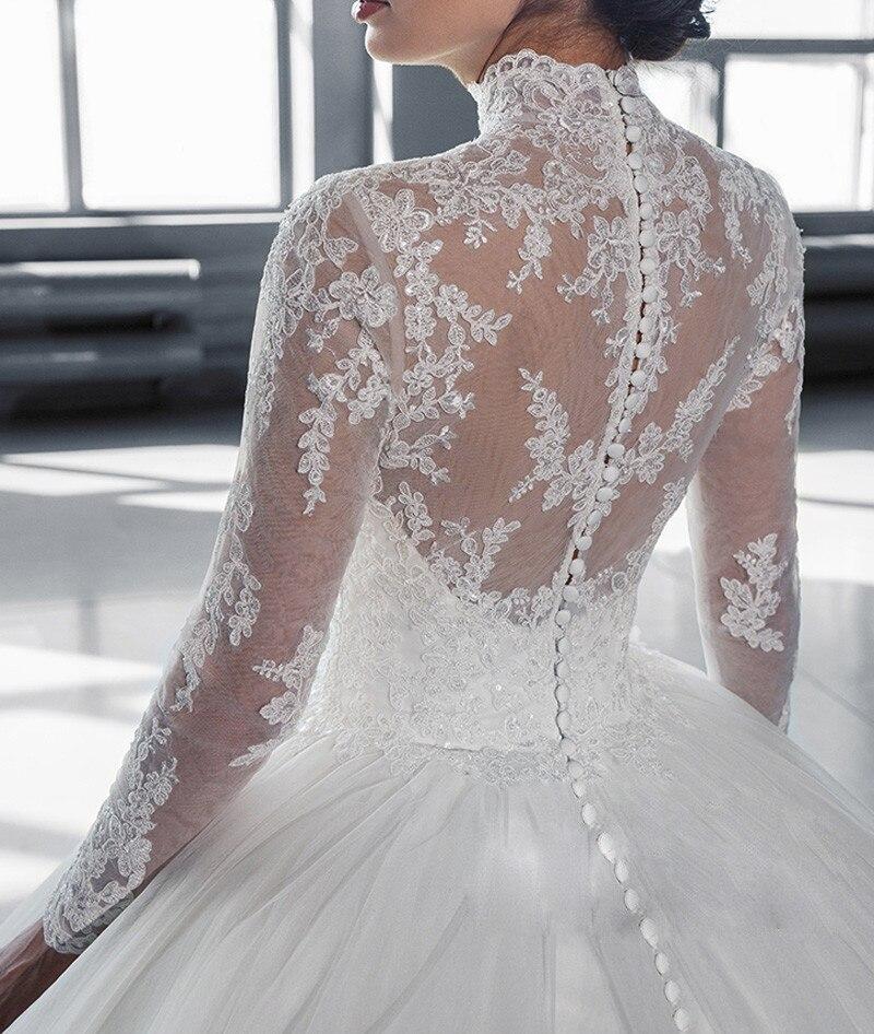 Vestidos 2019 Vintage High Neck Lace Trouwjurk Lange Mouwen Applicaties Casamento Prinses Bruids Jurk robe de mariage - 5