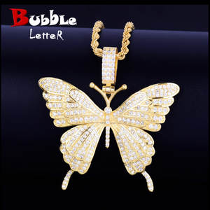 Pendant Rock-Jewelry Tennis-Chain Butterfly Necklace Cubic-Zircon Animal Iced-Out Hip-Hop