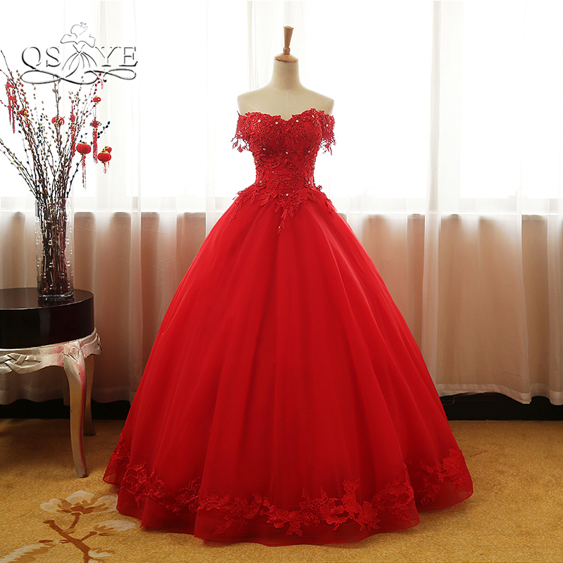Red Ball Gown Dresses: QSYYE 2018 Vintage Red Ball Gown Prom Dresses Elegant Off