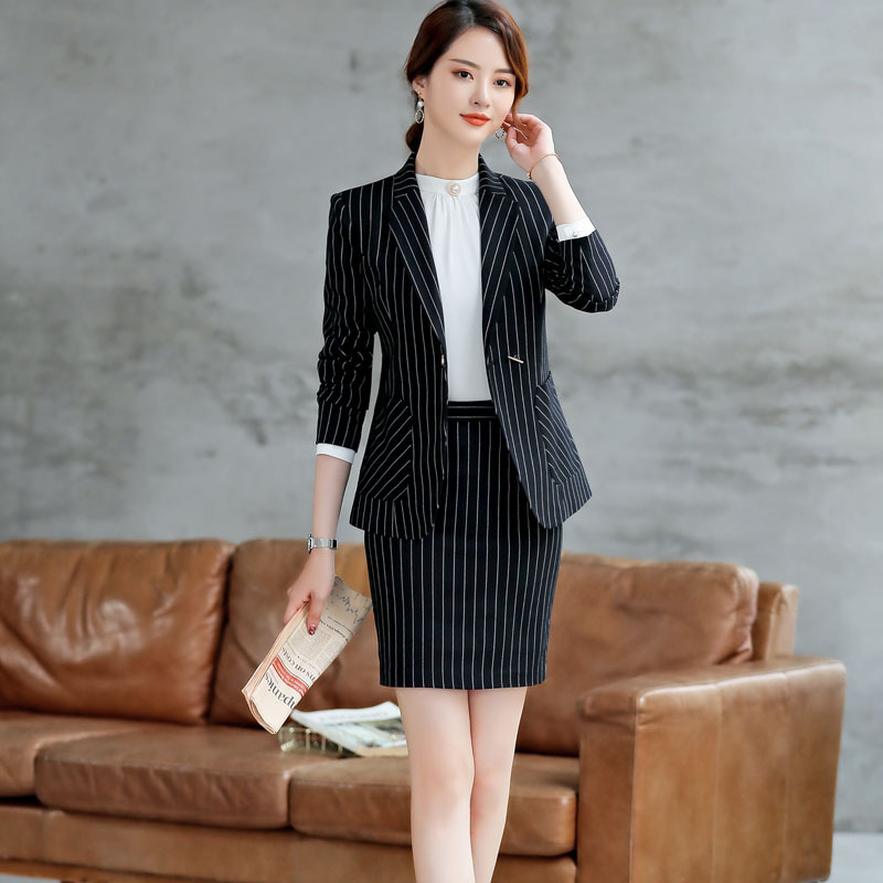 Set women's fashion suit trousers two-piece 2019 spring and autumn new casual stripes professional decoration women's clothing