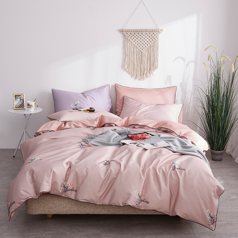 Grils Pink Bedding Coverlet Luxury Egyptian Cotton Satin Bedding Set  Floral Print Princess Bedclothes Home Texitle Bed Linen
