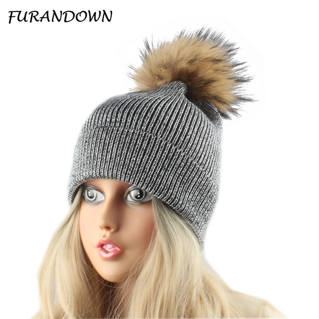 80cae90b60e27 Natural Fur Pompom Hats Winter Women Hat Silver wire Knitted Wool Beanies Ladies  Warm Beanie Female Cap Skullies