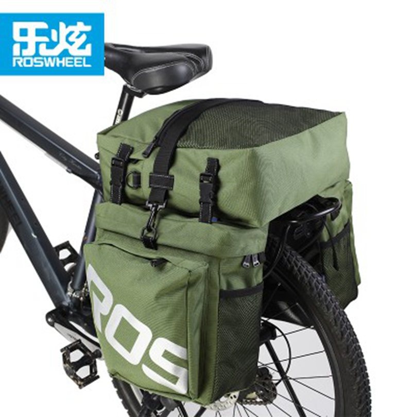 ROSWHEEL Black Green 3 in 1 Waterproof Mountain Road Bicycle Bike Bags Cycling Double Side Rear Rack Tail Seat Trunk Bag Pannier conifer travel bicycle rack bag carrier trunk bike rear bag bycicle accessory raincover cycling seat frame tail bike luggage bag