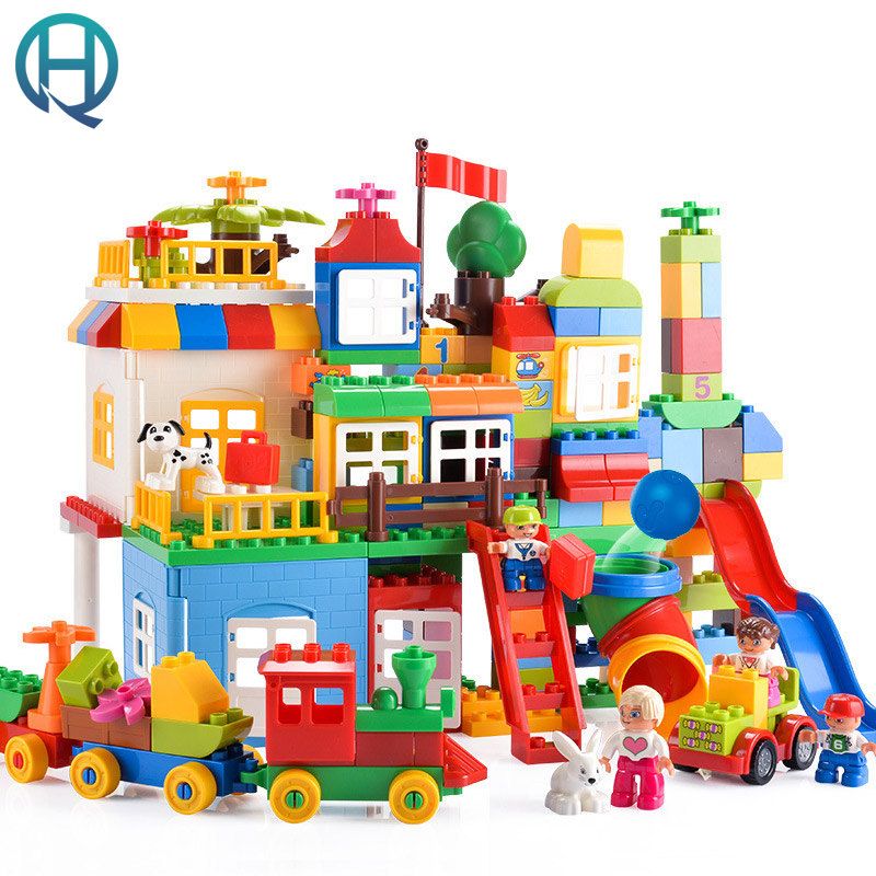 HuiMei Basic Edition DIY Model Big Building Blocks Bricks Baby Early Educational Learning Birthday Gift Toys for Children Kids 256pcs plastic educational building blocks toys baby intelligence sticks diy baby montessori early learning gift block toys