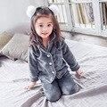 Flanela sleepwear crianças pijama conjuntos de roupas meninas de lã quente rosa 3-9year traje sleepwear loungewear pijama menino das crianças