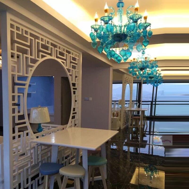 Отель Освещение Италия современные лампы личности лестницы большой длинный кристалл паук синего стекла фойе гостеприимство Освещение про...