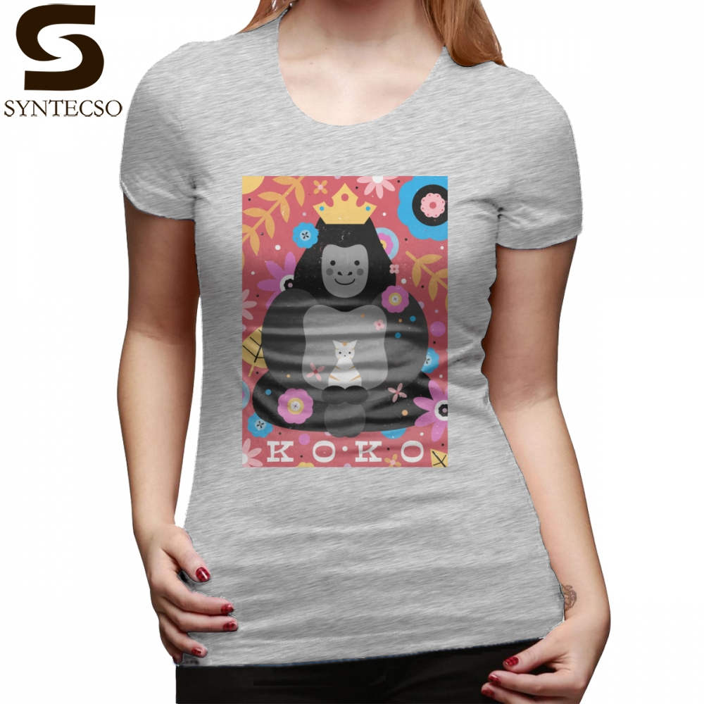 Koko T-Shirt Koko The Gorilla T Shirt Printed Navy Women tshirt O Neck Simple 100 Cotton Short-Sleeve Ladies Tee Shirt