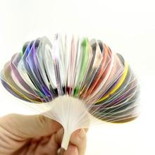 30 pièces curseurs colorés pour ongles autocollant décalcomanies bande pour Nail Art décorations bande de rayure ligne ruban adhésif 1mm