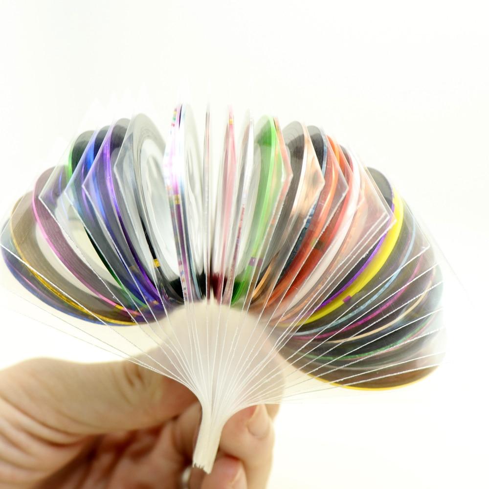 30 adet renkli kaydırıcılar çivi Sticker çıkartmaları bant Nail Art süslemeleri çizgi bant hattı yapışkanlı şerit 1mm