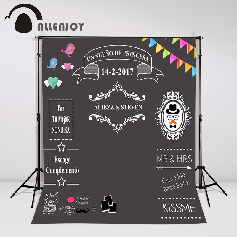 Allenjoy Custom blackboard Wedding Background Sweet love backdrop chalkboard  DIY backdrop photocall Excluding bracket allenjoy diy wedding photography background romantic love wood board custom name date phrase backdrop photocall
