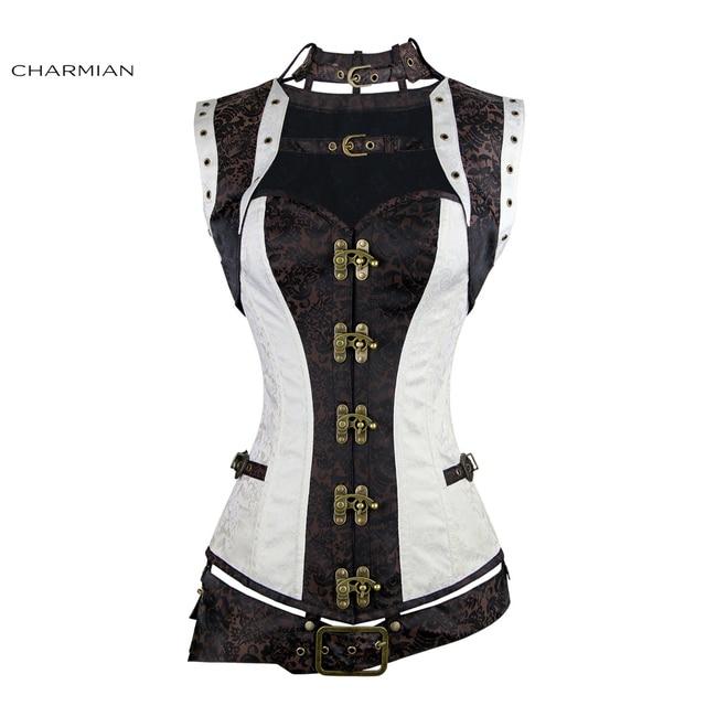 Charmian Women's Plus Size Steampunk Corset White Steel Boned Renaissance Vintage Steampunk Bustier Corset Top Gothic Halloween