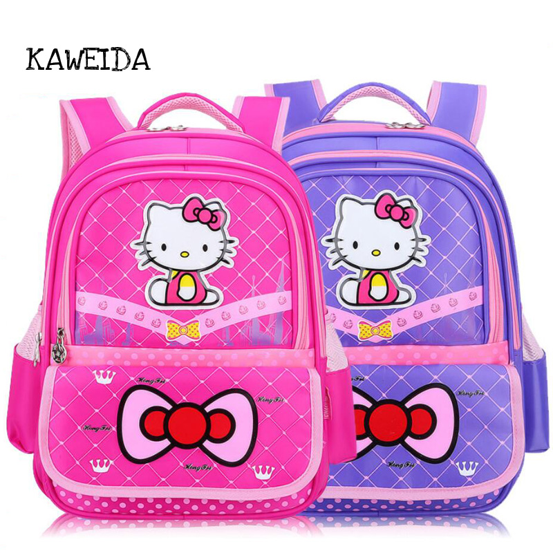 2018 New Children kid School bag for Teenager Girls Hello Kitty School Backpack orthopedic Schoolbag Cute Funny Pack Sac a Main