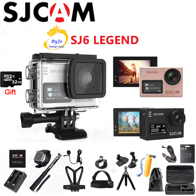 Original SJCAM SJ6 Legend Sports Camera 4K camera HD 2 Touch Screen Remote Waterproof Sports Action Camera 32G SD card gift awei a920bls bluetooth headphone fone de ouvido wireless earphone sports headset hands free casque with mic audifonos cordless