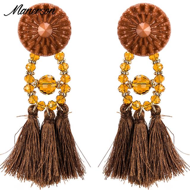 Crystal Long Tassel Drop Earrings Women Bijoux Red Gem