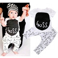 Baby Boy 2pcs Clothes Suit Cotton Short Sleeved Letter Printed T-Shirt+Pants Baby Boys Girls Clothing Set
